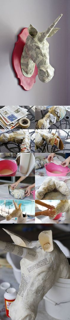 DIY :: PAPER MACHE ANIMAL HEADS (A TUTORIAL  DIY Paper Mache Unicorn Head