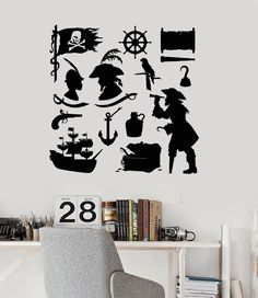 Wall Decal Pirates Ship Treasure for Kids Room Art Vinyl Stickers Unique Gift (ig2969)