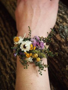 Wrist CORSAGE Dried Flowers Simple and Dainty by theflowerpatch