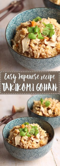 "Easy Japanese recipe one pot wonder Takikomi Gohan: This rice dish is also called ""Gomoku Gohan"". Takikomi Gohan is cooked rice with dashi, soy sauce and other seasoning along with fresh vegetables and meat. I usually use mushrooms, as I love mushrooms, and chicken breast for my protein intake. You can use whatever you like so there are a lot of variations in terms of ingredients. I used chicken, tofu, mushrooms and carrots in the recipe but you can replace these with salmon, green beans…"