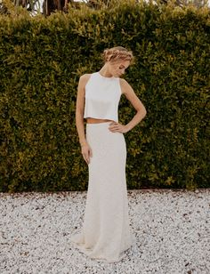 Crop top wedding dress from the Sarah Seven Collection