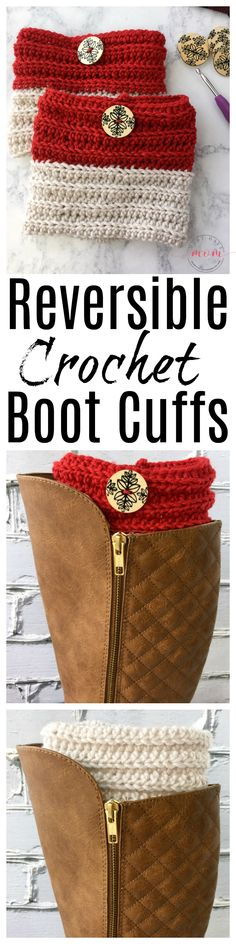 Easy reversible crochet boot cuffs free pattern perfect for beginners. Great crochet gift idea! Ad @redheartyarns