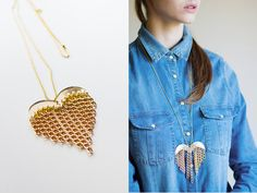 heart & chains necklace in gold