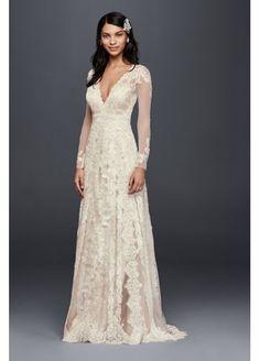 Melissa Sweet  Linear Lace Wedding Dress MS251173  long sleeve. deep v-line neckline.