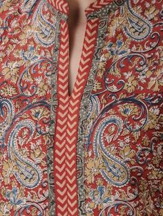 Red-Ochre Kalamkari-printed Mandarin Collar Cotton Kurta