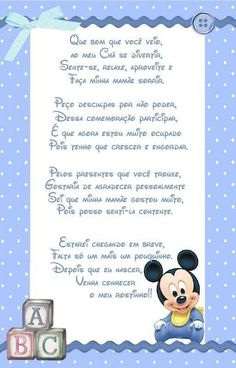 Frases para lembrancinhas de chá de bebê Minnie Baby, Babyshower, My Princess, Baby Decor, Baby Boy Shower, Party Themes, New Baby Products, Frame, Bernardo