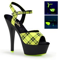 Pleaser KISS-209PL Neon Lime Plaid Faux Le Ankle Strap Sandals With Black Matte Platform - Shoecup.com