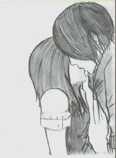 Emo couple kissing drawing