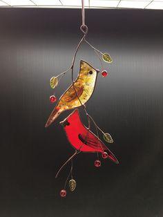 Gebrandschilderd glas paar van kardinalen