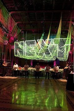 OMG: It looks like the rendering: American Friends of the Israel Museum Gala - Creative Event Decor Ideas Event Lighting, Neon Lighting, Lighting Design, Lighting Ideas, Environmental Graphics, Environmental Design, Stage Design, Event Design, Les Petits Frenchies