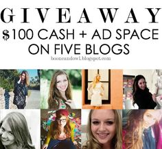 $100 cash + ad space on five different blogs!