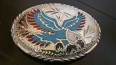 """MENS TURQUOISE SILVER CORAL BELT BUCKLE 4"""" WIDE EAGLE NATIVE AMERICAN"""
