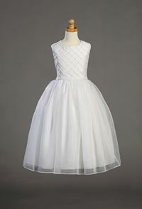 Flower Girl Dresses -First Holy Communion/Flower Girl Style SP926- Shantung Tucked Bodice with Pearl Accents