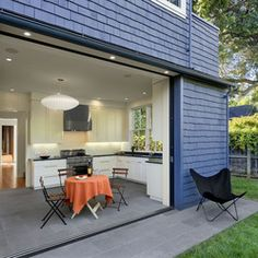 Exterior Pocket Doors Contemporary Kitchen Nelson Pendant Lamp Brown Caf Chair Mosaic Tiles Of Remarkable Ideas