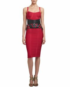 477982e12f64 Herve Leger Thin-Strap Bandage Dress  amp  Strappy Leather Harness Belt -  Neiman Marcus