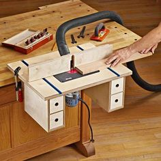 Bench-mounted Router Table Plan from WOOD Magazine table plans table diy workbenches Learn Woodworking, Woodworking Workbench, Popular Woodworking, Woodworking Furniture, Woodworking Crafts, Garage Workbench, Furniture Plans, Garage Plans, Kids Furniture