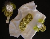 BABY girl outfit onesie romper bodysuit t shirt - Sage green ribbon rosettes adorn this Carter onesie accompanied by a coordinating headband