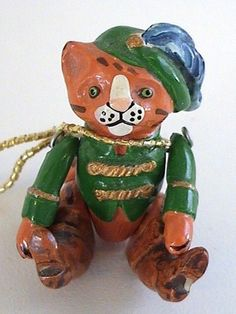 1980's Hantel Pewter Miniature Puss and Boots Kitty Cat Hand Painted w Tag