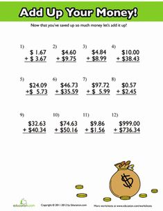Worksheets Adding Money Worksheets pinterest the worlds catalog of ideas fourth grade addition decimals money worksheets add up your money