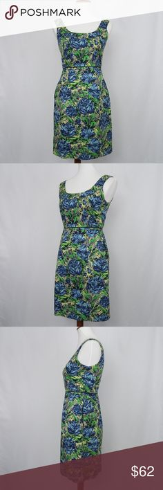 """Anthropologie Baraschi floral sheath dress Anthropologie Baraschi sleeveless sheath dress in lovely abstract floral print. Has haidden rear zipper with hook and eye closure, and pockets. Fabric is 100% cotton, fully lined in green 100% polyester. EUC, no stains or pilling. Note: dress originally had a flower pin on side of waist that has been removed. Tiny hole on black trim (see 6th pic).  Approx. measurements, taken while garment laying flat: Bust: 16.5"""" Waist: 14"""" Shoulders to waist…"""