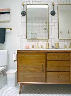Before & After: A Modern, Wheelchair-Accessible Bathroom | Design*Sponge | L-Sconce by Schoolhouse Electric