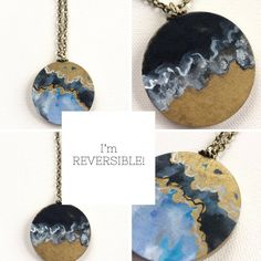 Reversible necklace - wood necklace - painted necklace - abstract painting - circle necklace - statement necklace - black - gold by HazelMartinDesigns on Etsy
