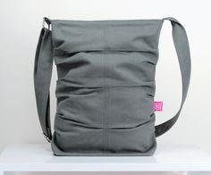 Light Gray / handmade / small bag / teen girl / College /  pleated / long strap / crossbody / shoulder bag / tote bag / purse / diaper bag