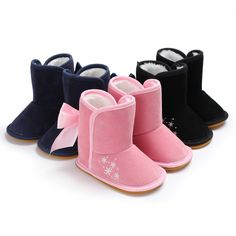4822b4edaff6d Baby Shoes New Arrival Baby Boots with Butterflies Knot in Winter Newborn  Baby Velvet Warm Baby Shoes Snow Boots First Walker