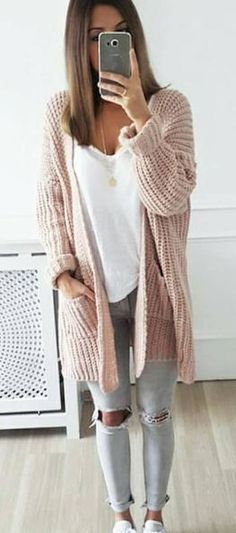 comfy outfit idea with a knit cardi
