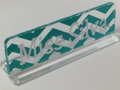 Desk Name Plate Acrylic Personalized Tuqruoise by thecraftgiraffe