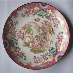 Ancienne sous tasse SARREGUEMINES décor MINTON N° 216, soucoupe porcelaine 15 cm