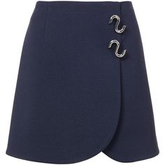 Tibi Mica Crepe Wrap Skirt (20.140 RUB) ❤ liked on Polyvore featuring skirts, mini skirts, bottoms, navy, wrap skirt, short mini skirts, navy skirt, short skirts and navy mini skirt