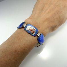 Norwegian Jewelry Guilloche Enamel Bracelet Flower Bracelet