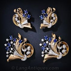 Retro Synthetic Sapphire and Diamond Earrings and Double Clips Suite - 20-1-2289 - Lang Antiques