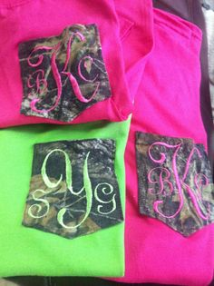Camo monogrammed pocket tee $16.00 on Etsy if all my brides maids would like camo u would sooo do these !!