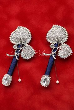 Two Silver Leaf Pins for Groom Best Man Wedding Package