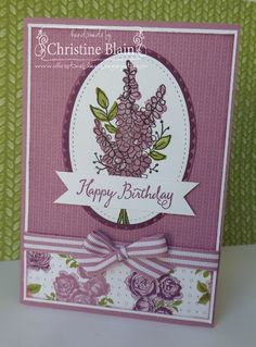 Stampin' Up! lots of lavender, petal garden dsp Lavender Stamp, Bohemian Birthday Party, Stamping Up Cards, Rubber Stamping, Heart Cards, Baby Kind, Handmade Birthday Cards, Flower Cards, Scrapbook Cards