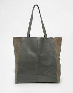Warehouse Leather and Suede Shopper Bag