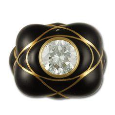 Rings Ladies David Webb high design diamond ring in 18k and black enamel