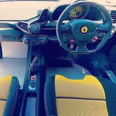 ferrari 458 grey yellow and black interior floor mats