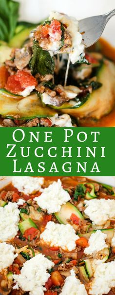 One Pot Zucchini Lasagna is the perfect low carb lasagna! Traditional lasagna flavors paired with healthy zucchini slices makes a delicious dinner! #ad #herbalife #healthyrecipes