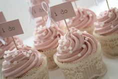 """Instant """"girly"""" cupcakes - put lace around cupcakes. Great idea for a bridal shower!"""