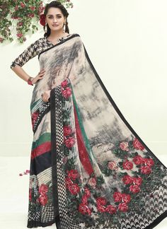 Our online store has a beautiful collection of sarees. Order this beauteous multi colour printed saree for casual and party.