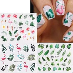Nail Water Decals, Nail Art Stickers, Nail Decals, Flamingo Nails, Acryl Nails, New Nail Art, Flower Art, Art Flowers, Leaf Flowers