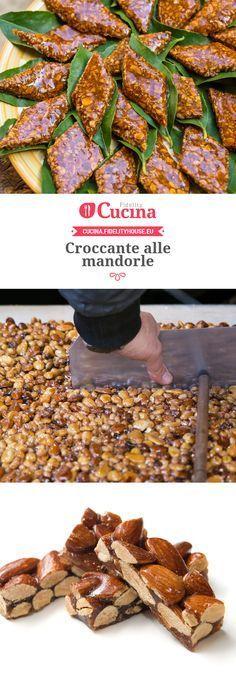 Croccante alle mandorle Italian Biscuits, Italian Cookies, Italian Desserts, Mini Desserts, Sweets Recipes, Cookie Recipes, Biscuit Dessert Recipe, Chocolate Bonbon, Sicilian Recipes