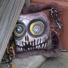 Frayed Skull Pillow