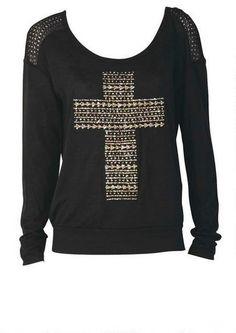 Glitter Cross Sweatshirt - View All Tops - Tops - Clothing - Alloy Apparel