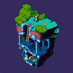 """""""Dungeon"""" A collaboration piece with the extremely talented Jamie Rollo! Isometric Art, Isometric Design, Pokemon, Pixel Drawing, Pix Art, Pixel Animation, Pixel Art Games, Environment Concept Art, Game Design"""