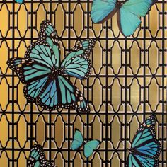 BRADLEY USA │Circa Wallcovering │BUTTERFLIES ON GATE TURQUOISE ON BRUSHED GOLD TYPE LL WALLCOVERING│shop.bradley-usa.com for trade pricing #bradleyusa #circawallcovering #chicagointeriordesign #newyorkinteriordesign #atlantainteriordesign