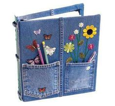 Denim notebook - cute idea for Brownie binders - teach the Brownie a Smile song.